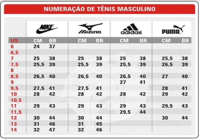06584f2a68e Tabela de numeração de tênis masculino varias marcas